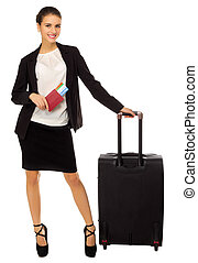 Traveling businesswoman isolated