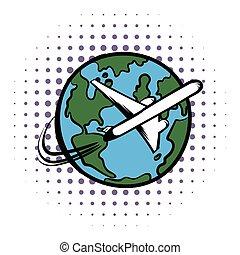 Traveling by a plane comics icon