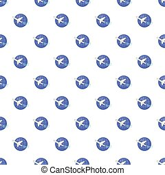 Traveling by a plane pattern, cartoon style