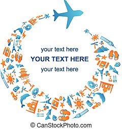 Traveling by air - Travel template with airplane trail made...