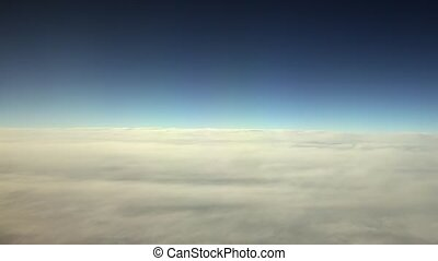 Traveling by Air. View Through an Airplane Window
