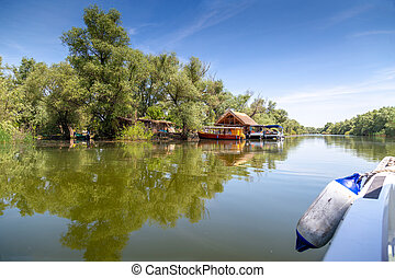 Traveling by boat through the Danube Delta