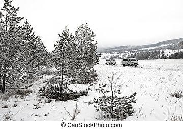Traveling by car in Lake Baikal