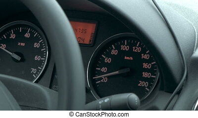 Traveling by car on low speed - Close-up shot of driving a...