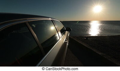 Traveling by car to summer beach