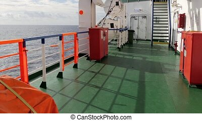 traveling by ferry boat - Travel by sea, a ferry deck...