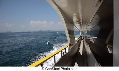 traveling by ferry boat - a trip on the ocean wave