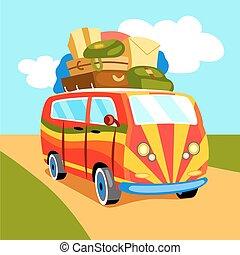 Traveling by minibus cartoon vector illustration