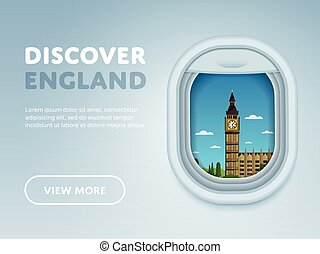 Traveling by plane. Landmarks in the window.