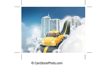 Traveling by taxi in the clouds, background