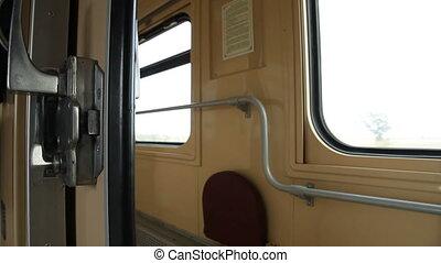 Traveling by ukrainian passenger train car