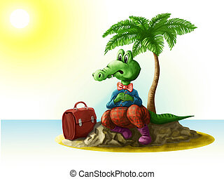 Traveling. Cartoon crocodile on vacation. The uninhabited island.