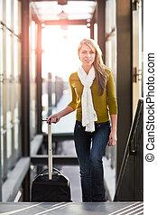 Traveling caucasian woman - A shot of a beautiful young ...