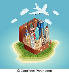 Traveling Concept Poster With Landmarks - Poster of big...