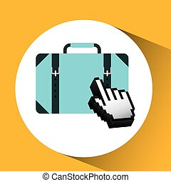 traveling concept, technology suitcase design graphic
