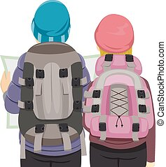 Traveling Couple - Back View Illustration of a Traveling...