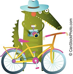 Traveling crocodile tourist with suitcase camera bicycle -...