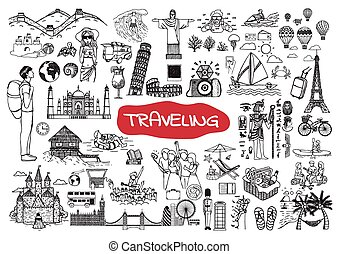 Traveling doodle set - Traveling around the world doodle set...