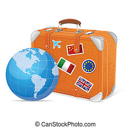 Traveling element baggage and globe - illustration of ...