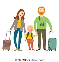 Traveling family on vacation. Happy family with luggage. Cartoon vector eps 10 illustration isolated on white background in a flat style.