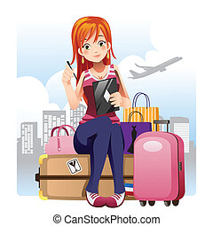 Traveling girl - A vector illustration of a traveling girl...