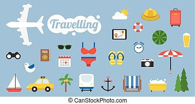 Traveling icon and elements in flat design style, holiday and vacation concept