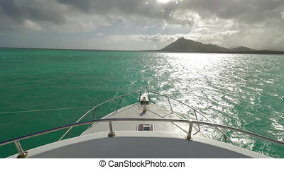 Traveling in the sea by yacht