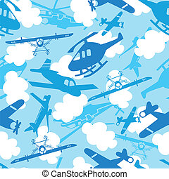 Traveling in the sky seamless pattern