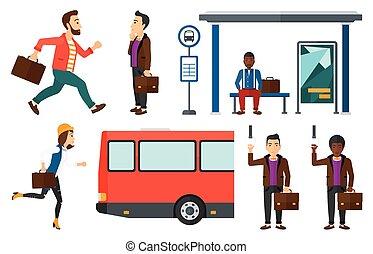 traveling., jogo, transporte, vetorial, pessoas
