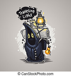 Traveling Light Cartoon Character for Humor Design or...