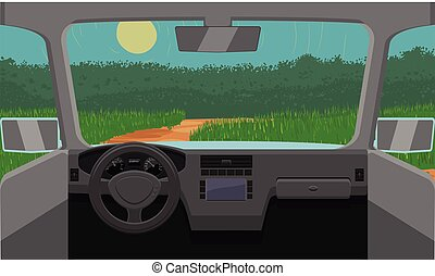 Vector illustration of a car travelling on a suburban or rural area on dashboard view.