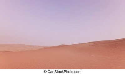 Traveling on an off-road car on the sand of Rub al Khali...