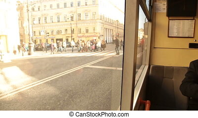 Traveling on public transport in the city St. Petersburg