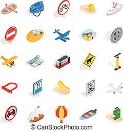 Traveling on transport icons set, isometric style -...