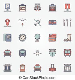 Traveling or travel colorful icons set