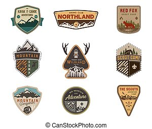 Traveling, outdoor badge collection. Scout camp emblem set....