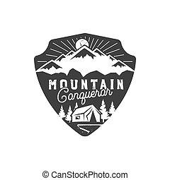Traveling, outdoor badge. Mountain conqueror emblem. Vintage...