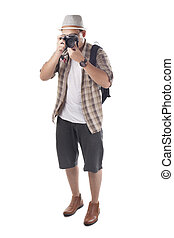 Traveling People Isolated on White. Male Backpacker Photographer Tourist
