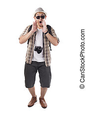 Traveling People Isolated on White. Male Backpacker Tourist Announcing Something