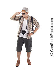 Traveling People Isolated on White. Male Backpacker Tourist Looking at Distance