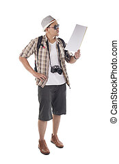 Traveling People Isolated on White. Male Backpacker Tourist Looking at Map