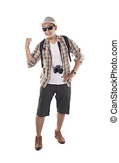 Traveling People Isolated on White. Male Backpacker Tourist Showing Something Behind