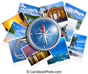 Traveling photos collage with compass isolated on white background