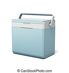 Traveling refrigerator isolated on a white background. 3d...