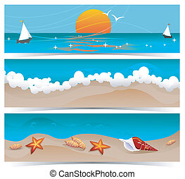 Traveling Summer Banners - Set of three summer traveling ...
