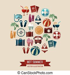 Traveling, summer vacation, tourism and journey vector concept