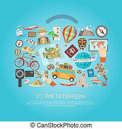 Traveling Time Flat Color Concept - Time to traveling text...