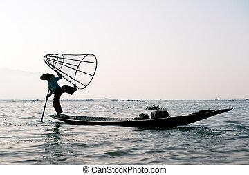 Traveling to Myanmar, outdoor photography of fisherman