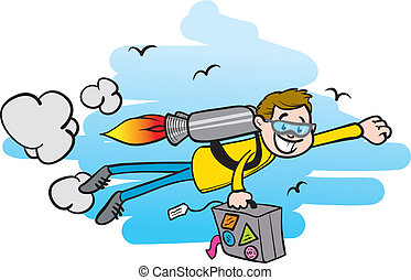 traveling with a jet pack - a guy traveling with a jet pack,...