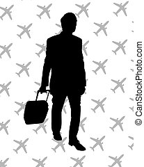 traveller - Illustration of a man walking with luggage
